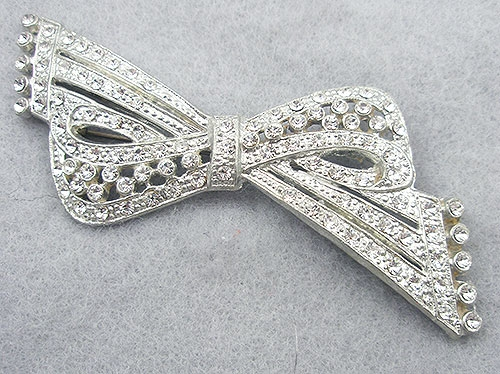 Brooches - Art Deco Pot Metal Rhinestone Bow Brooch