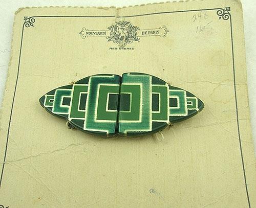 Art Deco - Nouveauté Green Galalith Buckle