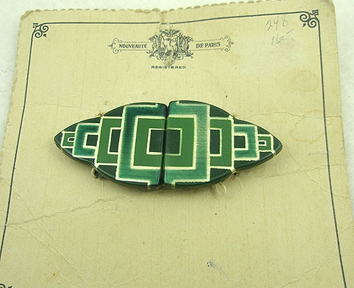 Bakelite, Celluloid, Galalith - Nouveauté Green Galalith Buckle