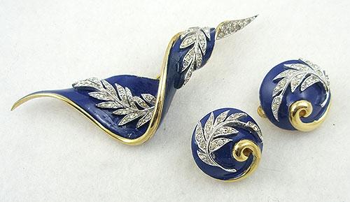Mazer/Jomaz - Jomaz Blue Enamel Banner Brooch Set