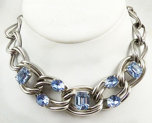 Kafin - Kafin Light Blue Rhinestone Necklace