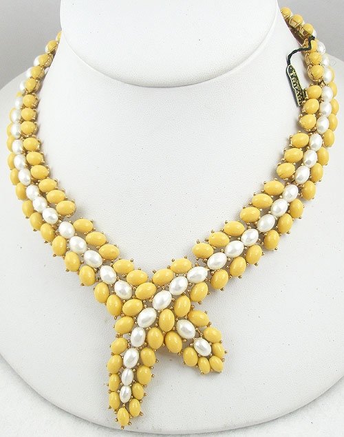 Trifari - Trifari Yellow Cabochon Necklace
