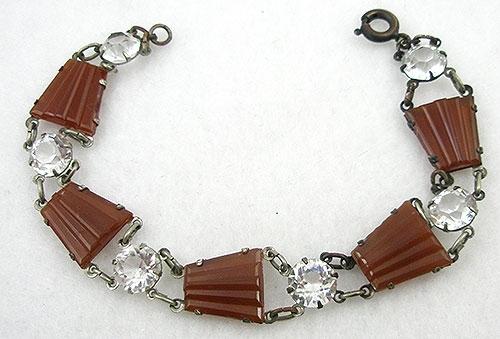 Bracelets - Art Deco Carnelian Glass Bracelet