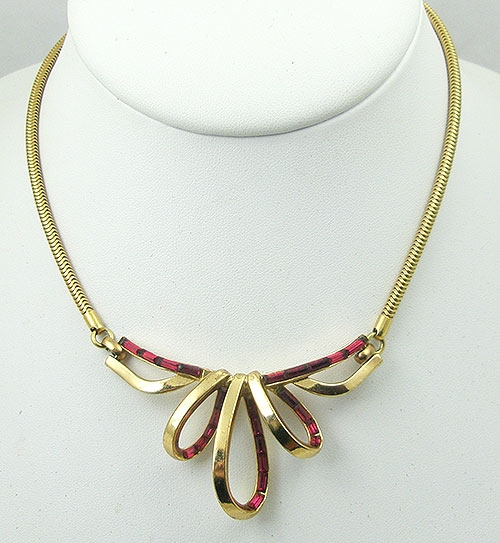 Trifari - Trifari Ruby Triple Loop Necklace