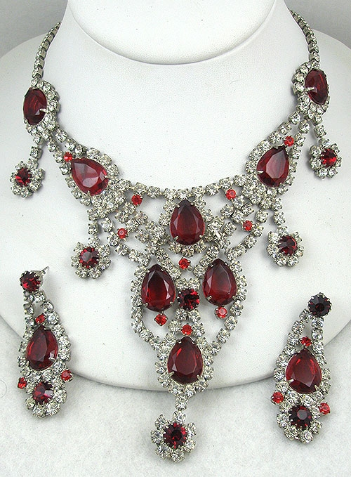 Bridal, Wedding, Special Occasion - Dominique Ruby Rhinestone Necklace Set