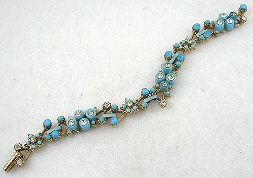 Bracelets - Aqua Cabachon Flowers Link Bracelet