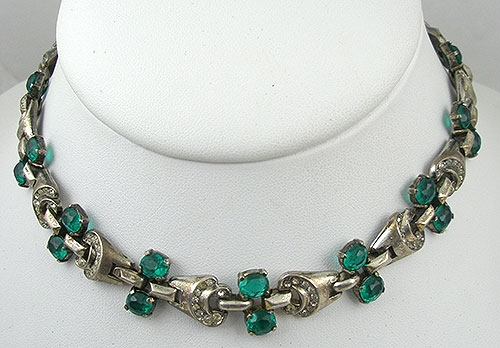Trifari - Trifari Sterling Emerald Rhinestone Necklace