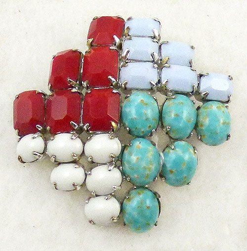 Brooches - Multi-Color Glass Stone Brooch