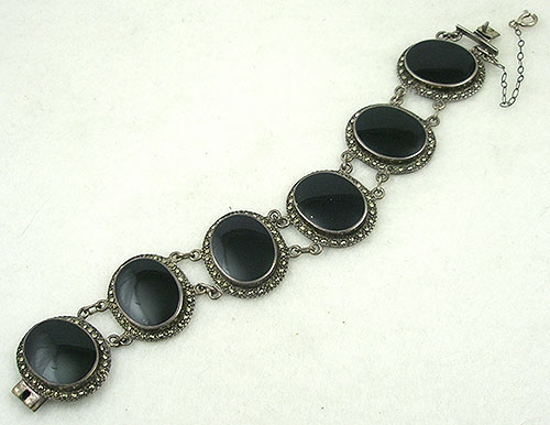 Marcasite Jewelry - Vintage Sterling Onyx & Marcasite Bracelet