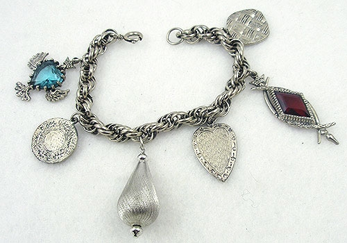 Charm Jewelry - Vintage 1960's Silver Charm Bracelet
