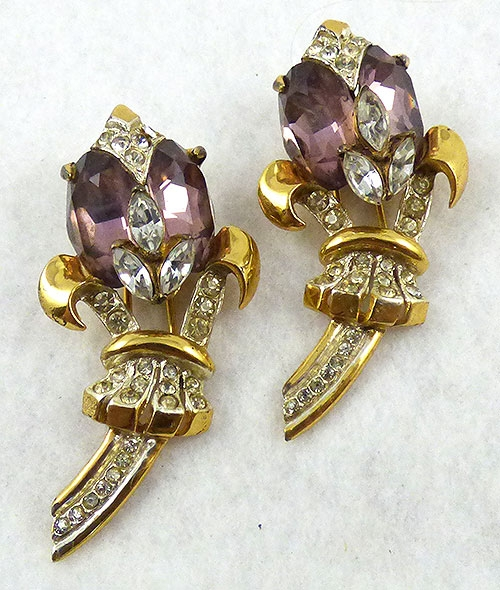 Florals - Corocraft Amethyst Tulips Sterling Fur Clips Pair