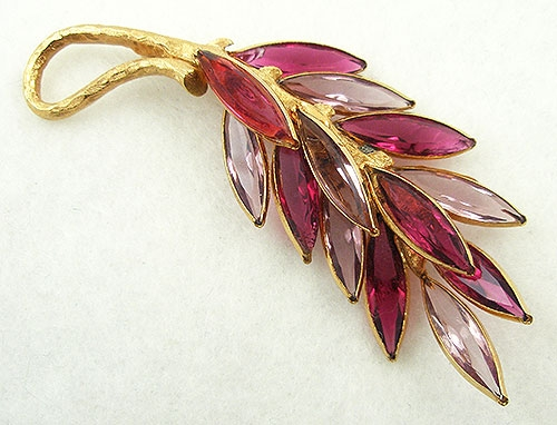 Brooches - Corocraft Pink Navette Leaf Brooch