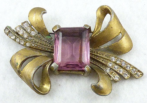 Brooches - Retro Amethyst Glass Knot Bow Brooch