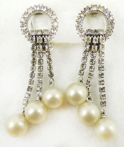 Ciner - Ciner Dangling Pearls Rhinestone Earrings