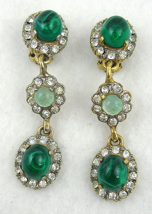 Lane, Kenneth J. - K.J.L. Green Glass Cabochon Drop Earrings