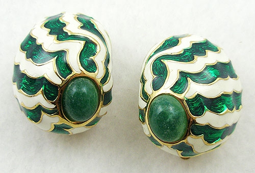 Ciner - Ciner Green Striped Domed Earrings