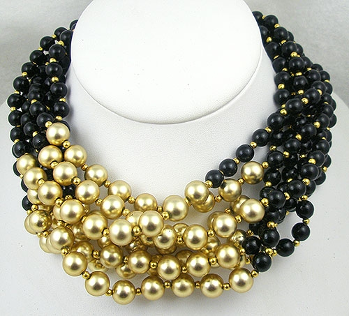 Lane, Kenneth J. - Kenneth Lane Black & Gold Bead Torsade Necklace