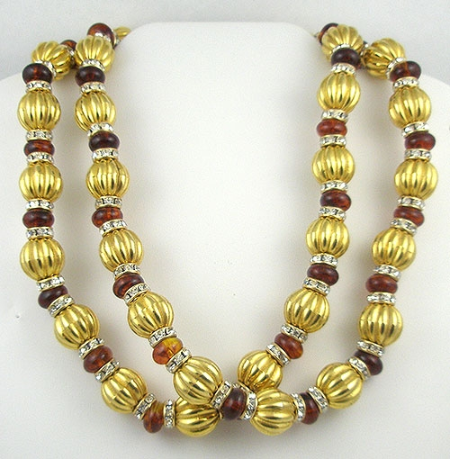 Lane, Kenneth J. - Kenneth J. Lane Gold & Amber Beads Necklace