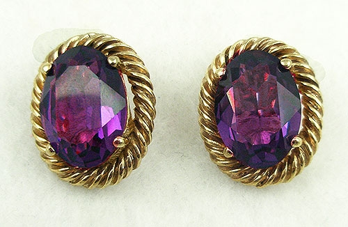 Germany - Christian Dior Amethyst Glass Earrings