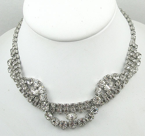 Bridal, Wedding, Special Occasion - Vintage Rhinestone Serpentine Necklace