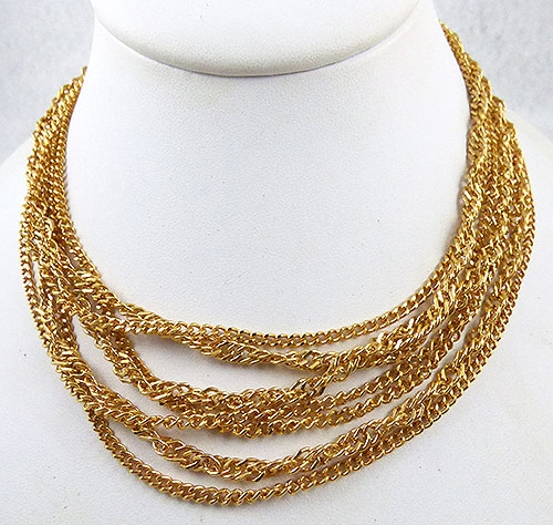 Necklaces - Trifari 7-Strand Gold Chain Necklace