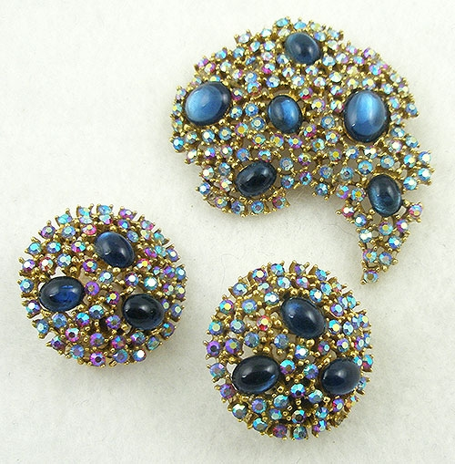 Sets & Parures - Signed Art Red Aurora Blue Cabochon Brooch Set