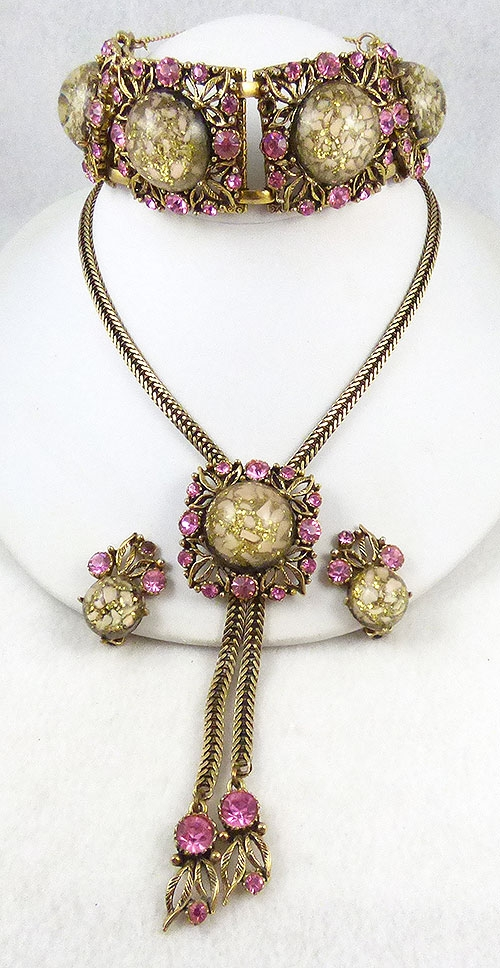Sets & Parures - Selro Confetti Lucite Pink Rhinestone Parure