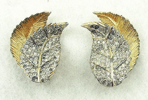 Rosenstein, Nettie - Nettie Rosenstein Pavé Leaves Earrings