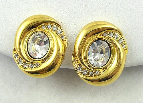 Earrings - Napier Rhinestone Oval Earrings