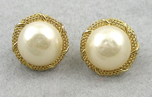 Vintage Dior Faux Pearl Earrings Garden Party Collection Jewelry