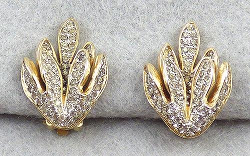 Earrings - Nettie Rosenstein Rhinestone Leaves Earrings
