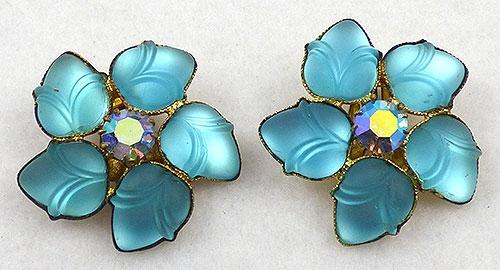 Earrings - Aqua Molded Glass Acorn Earrings