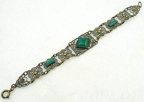 Bracelets - Art Deco Filigree Green Glass & Pyrite Bracelet