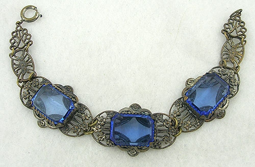 Pantone Color of the Year 2020 - Czech Filigree Sapphire Blue Glass Bracelet
