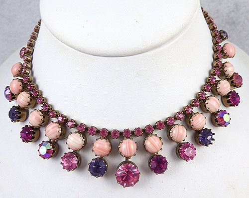 Necklaces - Weiss Pink Rhinestone Necklace