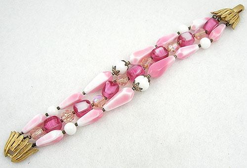 Bracelets - Trifari Pink Bead Triple Strand Bracelet