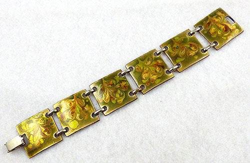 Mid-Century Modern - Fused Glass Enamel on Copper Bracelet