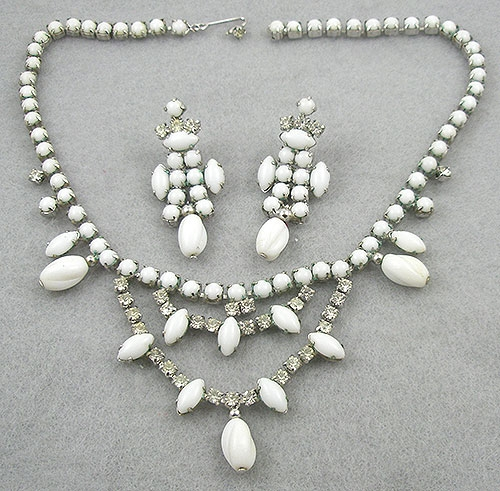 Sets & Parures - Vintage White Milk Glass & Rhinestone Necklace Set