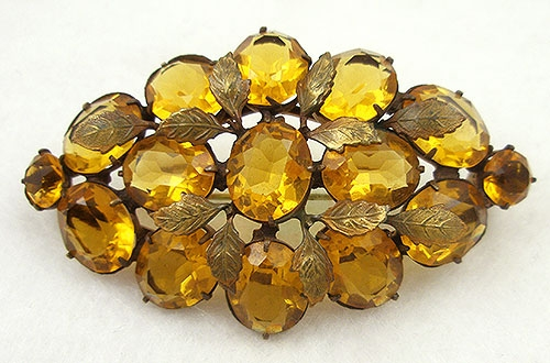 Brooches - Czech Golden Topaz Rhinestone Brooch