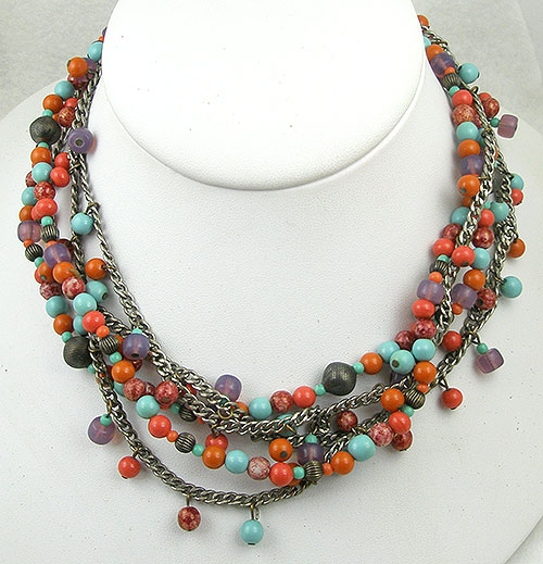 Haskell, Miriam - Miriam Haskell Glass Beads 5-Strand Necklace