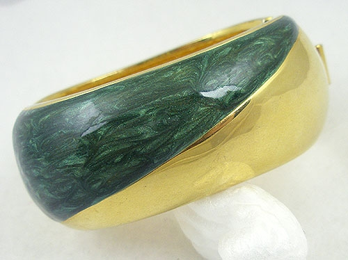 Bracelets - Alexis Kirk Green and Gold Hinged Bracelet