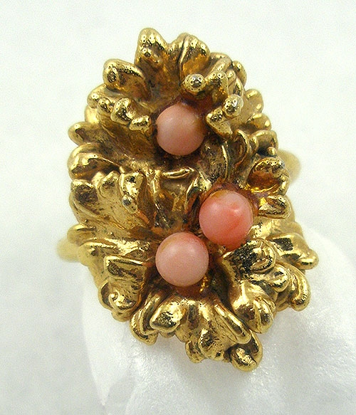 Rings - Leafy Gold Plated Coral Glass Ladies Ring