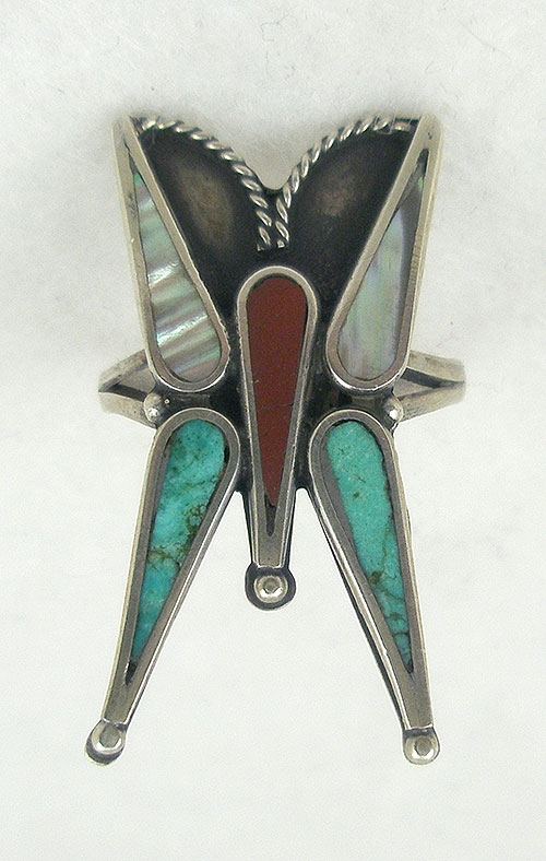 Semi-Precious Gems - Native American Sterling Butterfly Ring