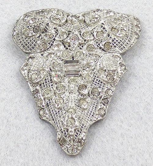 Dress & Fur Clips - Art Deco Pot Metal Rhinestone Dress Clip