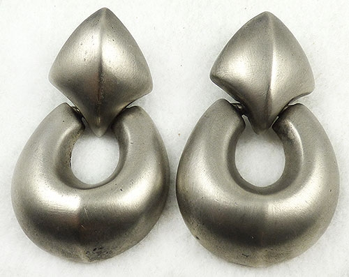Givenchy - Givenchy Matte Silver Door Knocker Earrings
