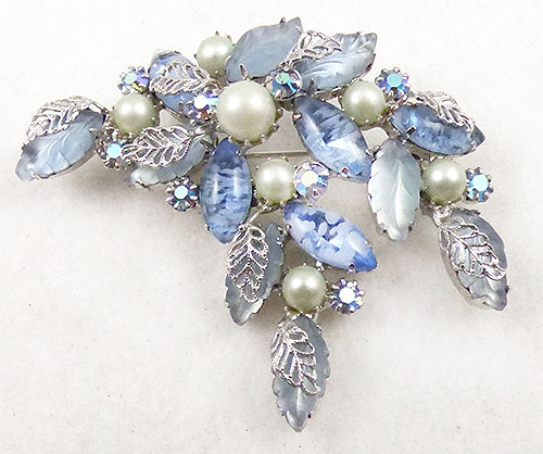 Newly Added Kramer Pale Blue Leafy Brooch