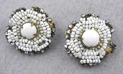 Haskell, Miriam - Miriam Haskell White Bead Earrings