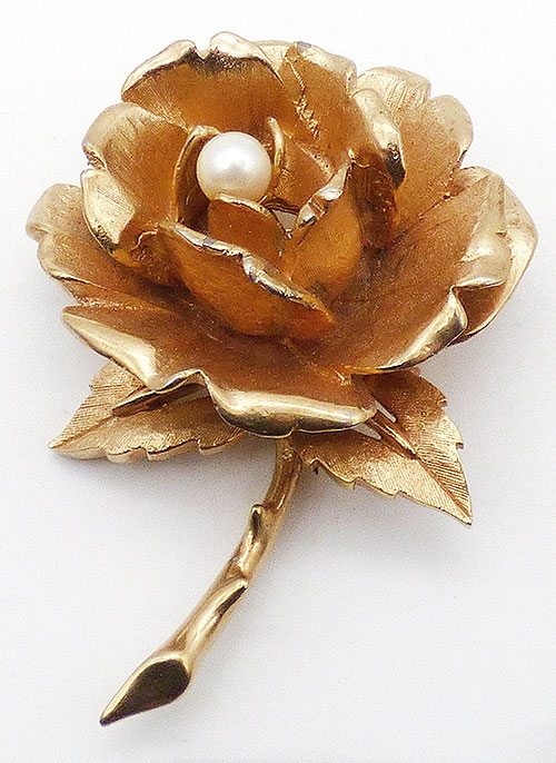 Florals - Boucher Gold Rose Brooch