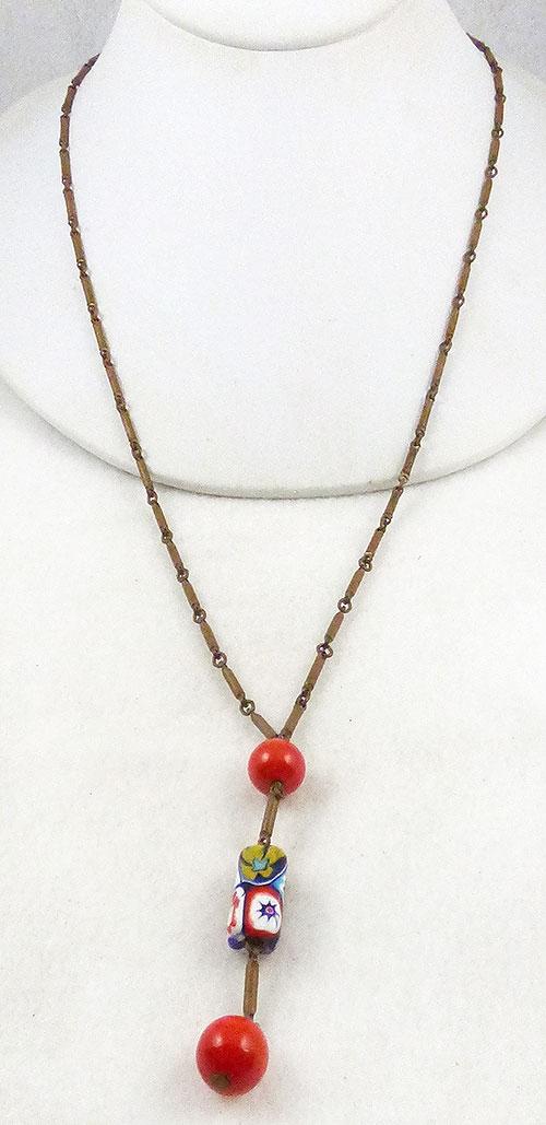 Art Deco - Art Deco Millefiori Bead Lavalier Necklace