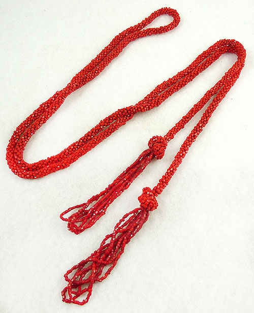 Newly Added Red Crocheted Bead Flapper Lariat Necklace